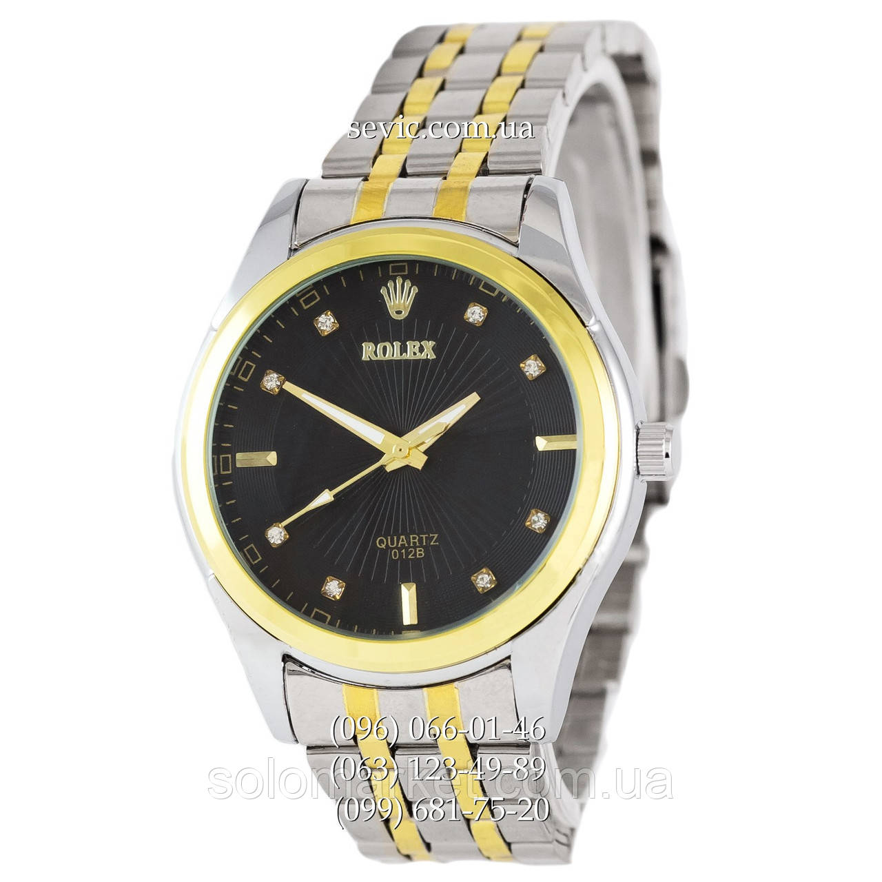 5a3d0152491d Наручные часы Rolex Quartz 012B Crystals Silver-Gold Black (реплика) -  Интернет