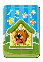Деревянный паззл, 4 детали «Собака в будке»
