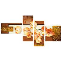 Модульная картина с орхидеями ОРХИДЕИ В ЗОЛОТЕ из 4 частей