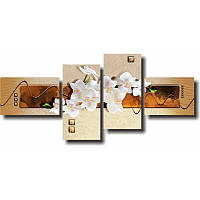 Модульная картина с орхидеями БЕЛЫЕ ОРХИДЕИ из 4 частей