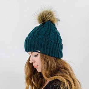 """Вязаная женская шапка """"Gretta"""" с меховым помпоном, фото 2"""