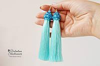 Серьги кисточки голубые, фото 1