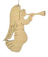 Деревянная новогодняя игрушка заготовка. Ангел с трубой