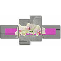 Модульная картина с орхидеями БЕЛЫЕ ОРХИДЕИ НА ВЕТОЧКЕ из 4 частей (серый)