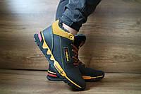 Мужские зимние кроссовки Adidas черные с желтым