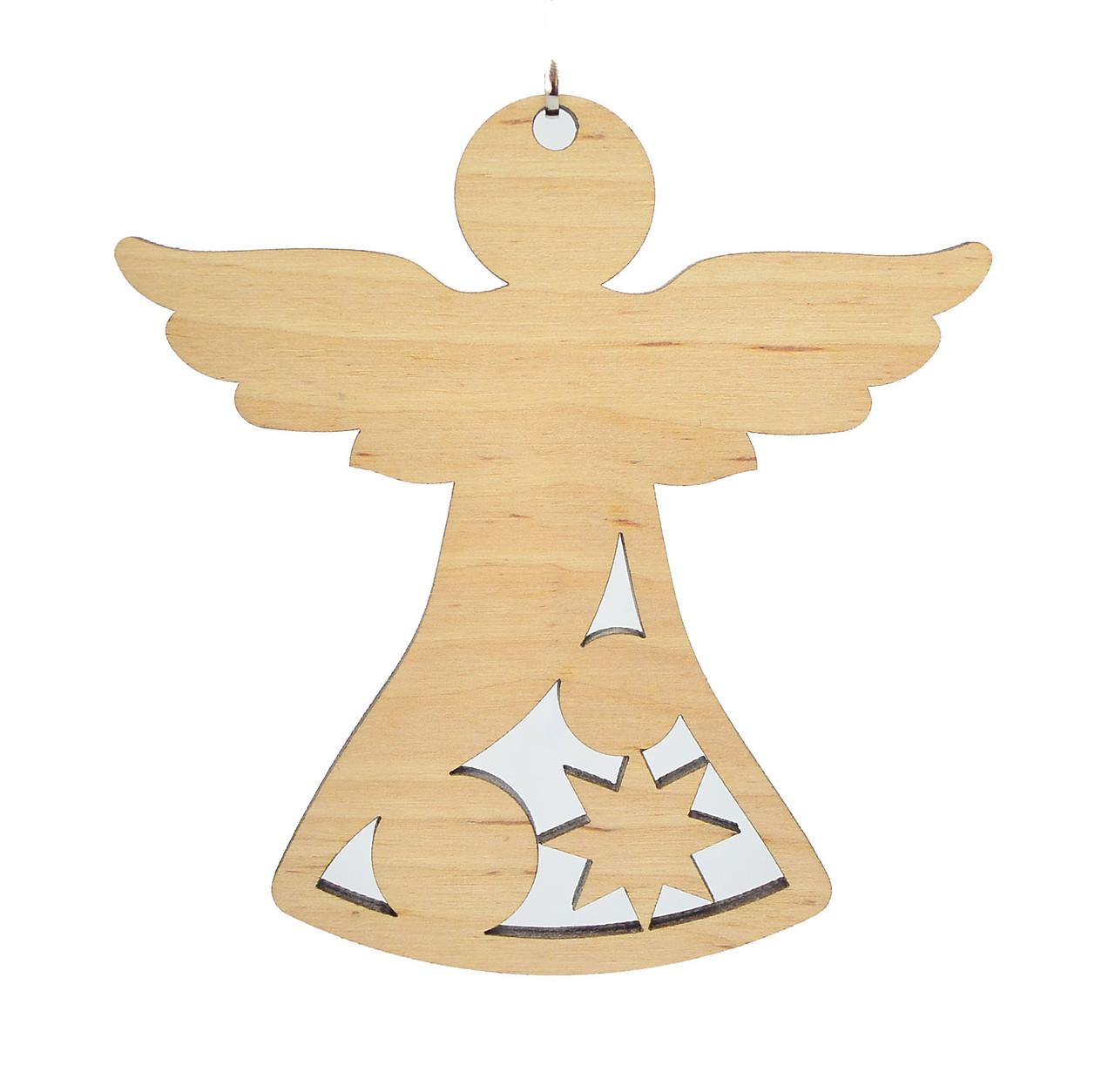 Деревянная новогодняя игрушка заготовка. Ангел