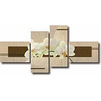 Модульная картина с орхидеями БЕЛЫЕ ОРХИДЕИ НА ВЕТОЧКЕ из 4 частей (коричневый)