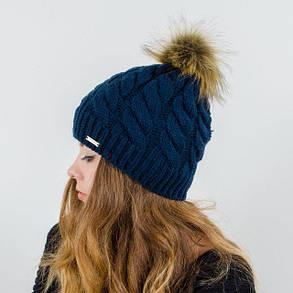 """Вязаная женская шапка """"Zlata"""" с меховым помпоном, фото 2"""