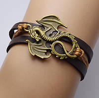 """Коричневый кожаный браслет """"Дракон"""", Игра престолов"""