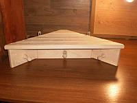 Полка угловая для бани с вешалкой на 3 крючка