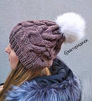 Вязанная шапка с натуральным помпоном песца
