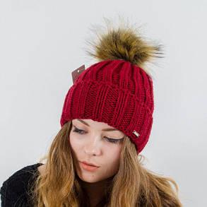 """Вязаная женская шапка """"Marta"""" с меховым помпоном, фото 2"""