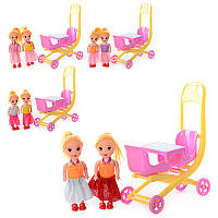 Кукла B109 2 шт (10 см) с коляской
