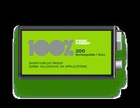 Аккумулятор 100% PeakPower - Rechargeable NiMH 9V (HR22) 200mAh 8.4V крона