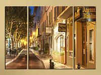 """Модульна картина """"Улічка нічного містечка"""", фото 1"""
