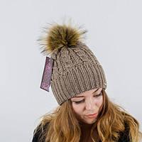 """Вязаная женская шапка """"Gretta"""" с меховым помпоном"""
