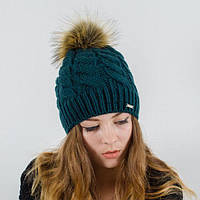"""Вязаная женская шапка """"Zlata"""" с меховым помпоном"""