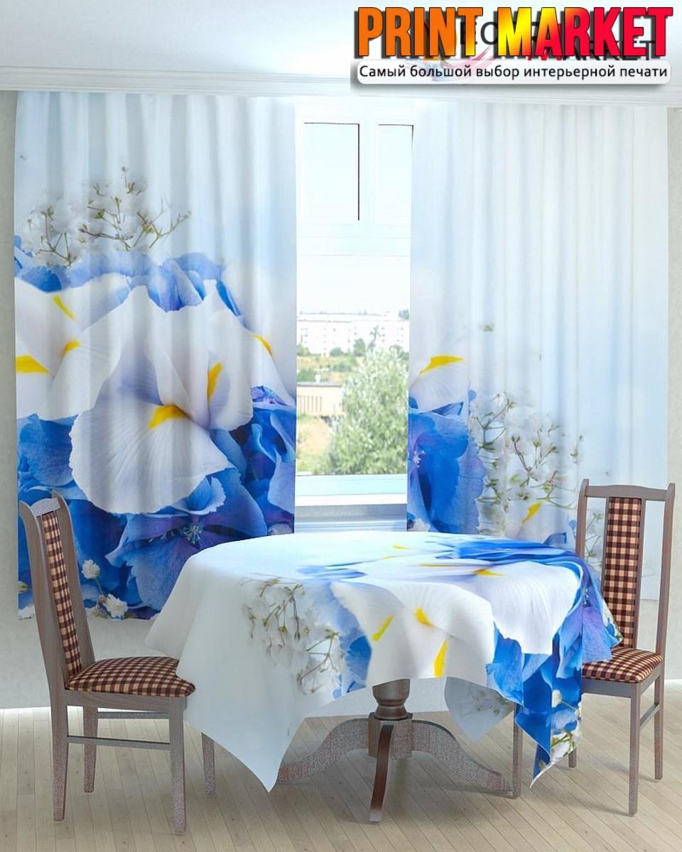 Фотошторы для кухни бело-голубые цветы