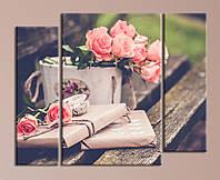 Модульная картина Цветы на лавочке, фото 1