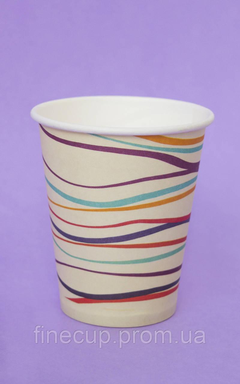 "Паперові стаканчики/бумажные стаканы ""смугастий"" 175 мл"