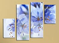 Модульная картина Голубые цветы, фото 1