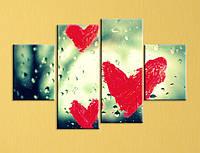 """Модульная картина """"Сердца на стекле"""""""