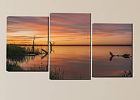 "Модульная картина ""Закат над рекой"", фото 1"
