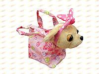 Собачка плюшевая в сумке. 25 см. тм Сонечко