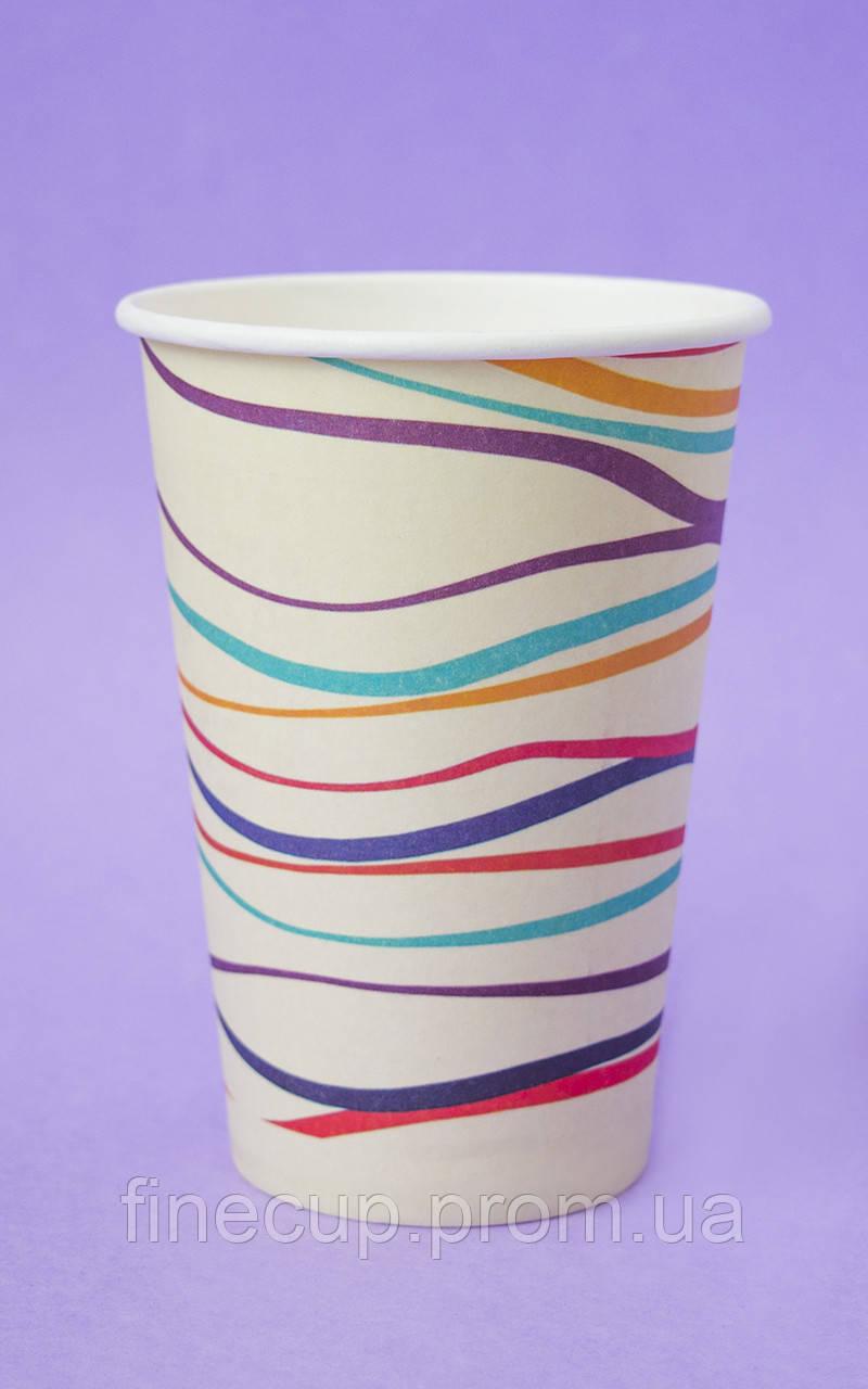"Паперові стаканчики/бумажные стаканы ""смугастий"" 340 мл"