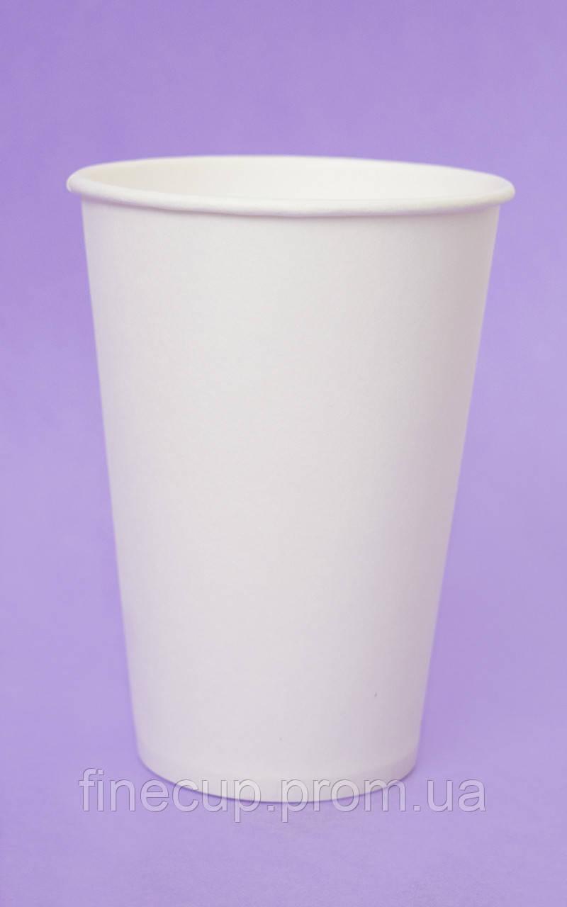 Паперові стаканчики білі/бумажные стаканы белые 340 мл
