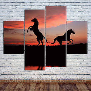 "Модульная картина ""Лошади на закате"""