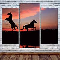 """Модульная картина """"Лошади на закате"""", фото 1"""