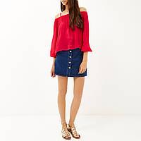 Красная блуза с открытыми плечами River Island