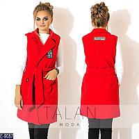 Модная кашемировая жилетка красного цвета, батал. Арт-10138