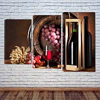 """Модульная картина """"Вино"""", фото 1"""