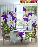 Фотошторы для кухни цветы Анютины глазки