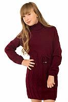 """Теплое вязанное платье-туника """"Астрид"""" для девочки, цвет бордовый"""