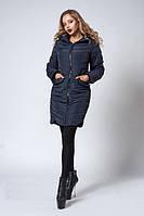 Утепленная женская демисезонная куртка темно-синего цвета  БЕСПЛАТНАЯ ДОСТАВКА!!!