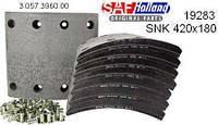 Комплект накладок тормозных SNF420x180mm ( 19283 01 ) (оригинал SAF) 3057396010   1ремонт