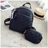 Рюкзак женский кожаный с сумочкой на цепочке (черный), фото 3