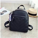 Рюкзак женский кожаный с сумочкой на цепочке (черный), фото 4