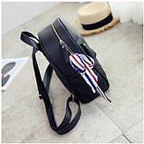 Рюкзак женский кожаный с сумочкой на цепочке (черный), фото 5