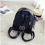 Рюкзак женский кожаный с сумочкой на цепочке (черный), фото 6