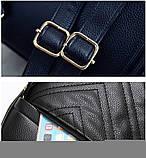 Рюкзак женский кожаный с сумочкой на цепочке (черный), фото 8