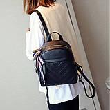 Рюкзак женский кожаный с сумочкой на цепочке (черный), фото 7