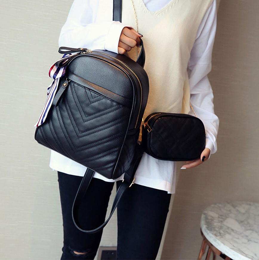 Рюкзак женский кожаный с сумочкой на цепочке (черный)