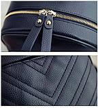 Рюкзак женский кожаный с сумочкой на цепочке (черный), фото 9