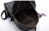 Рюкзак женский кожаный с сумочкой на цепочке (черный), фото 10