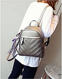 Рюкзак жіночий шкіряний з сумочкою на ланцюжку (бронзовий), фото 4