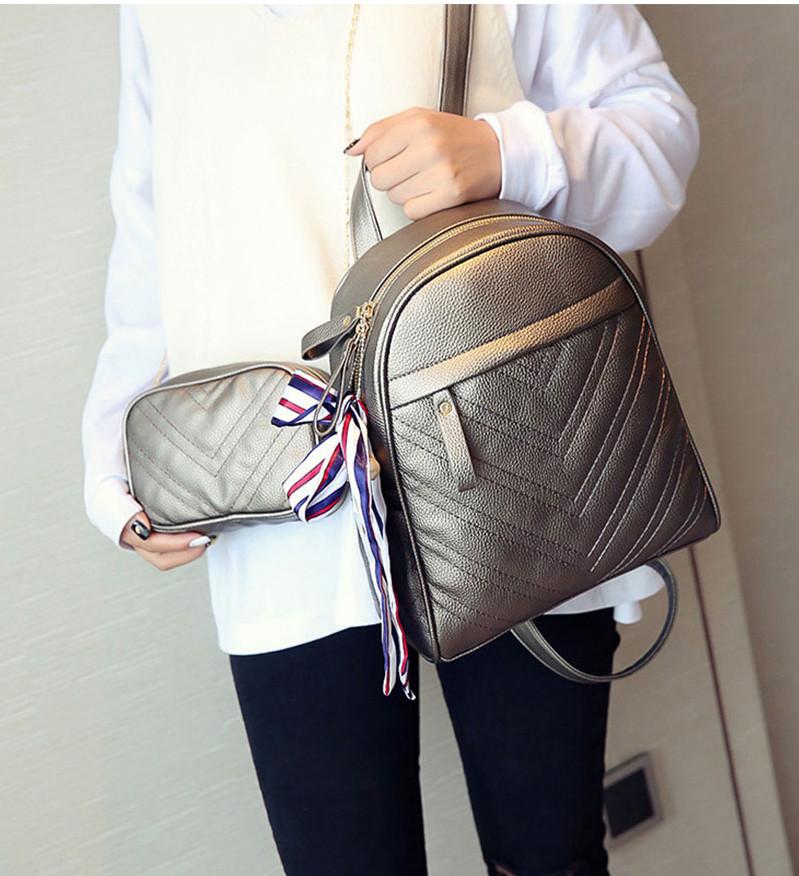 Рюкзак жіночий шкіряний з сумочкою на ланцюжку (бронзовий)